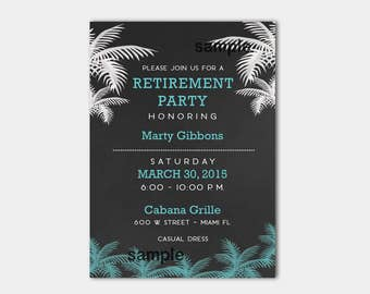 Palm Tree Tropical Chalkboard Masculine Retirement Invitations, Printed or Printable