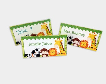 Jungle Safari Baby Shower or Birthday Buffet Cards, Table Cards, Place Cards, Tent Cards, Table Name Cards INSTANT DOWNLOAD bs-015