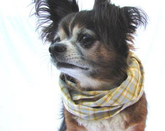 Pet Dog Scarf Yellow and Green Plaid Woven