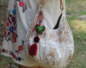 Beige and Tan hand  Embroidered Huipil Boho Travel tote