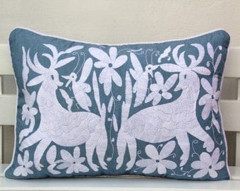 OVERSIZED Blue Chambray and white embroidered Otomi Pillow Sham-Ready to ship