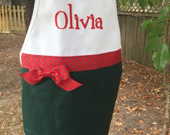 Girls  Christmas apron personalized