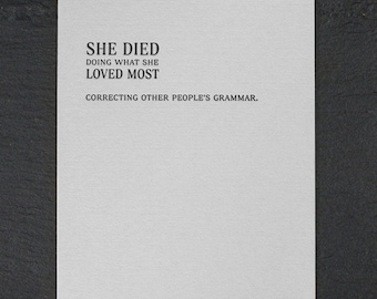 correcting grammar. letterpress card. #163