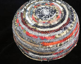 Black, White, Gold and Red Small Fabric Basket