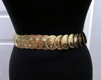 Vintage Elastic Stretch Cinch Round Disks Shape Gold Tone Metal Belt XS S M