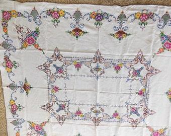 "Cross Stitched Tablecloth, Vintage Hand Embroidered, Cross Stitched Handiwork, 68"" x 80"" Tablecloth, Antique Folk Art, Needlework Tablecloth"