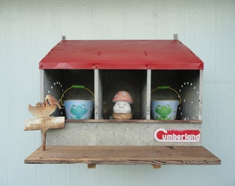 Vintage Chicken Roosting Box Garden Display Wall Storage Decor Galvanized Nesting Bin
