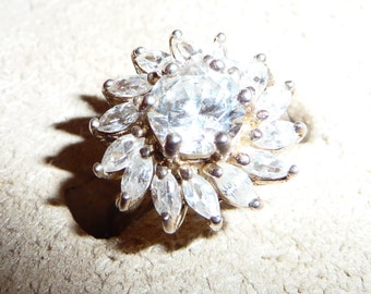 Sterling Silver CZ Cocktail Ring Sz 6 on Etsy by APURPLEPALM