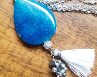 Long boho beaded tassel pendant necklace, long gemstone pendant necklace, blue stone necklace, blue agate necklace, long boho pendant