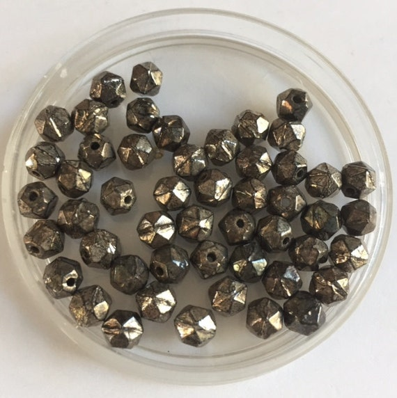 Vintage  Faceted Glass Beads - Dark Silver - 50 Beads