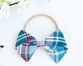 Hair Bow, Bow Headband, Headband, Headbands, Fabric Hair Bow, Hair Clip, Baby Bow, Plaid Bow, Alligator Clip, Bow - Navy, Blue, Red Plaid