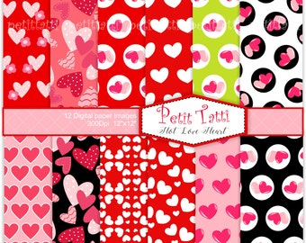 ON SALE hearts digital paper pack - heart clip art, valentines day, heart background, love background