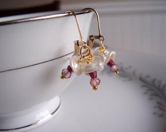 Keshi pearl, rhodolite garnet and pink quartz gold dangle wedding earrings, keshi pearl jewelry, genuine gemstone earrings, garnet jewelry