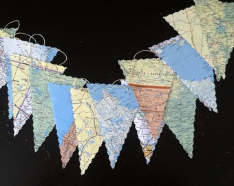 vintage maps pennant garland