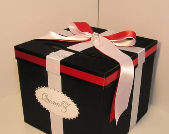 Wedding Card Box Black and White/Red(Scarlet) Gift Card Box Money Box Holder--Customize your color