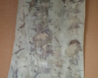 Natural Leaf-Printed Silk and Wool Scarf, oak and maple leaves