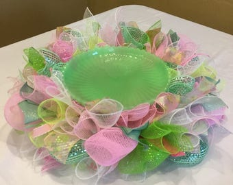Pink and Green Deco Mesh Cake Skirt and Cake Stand Gift Set , Cake Stand Arrangement , Cake Plate Skirt , Baby Shower Cake Stand