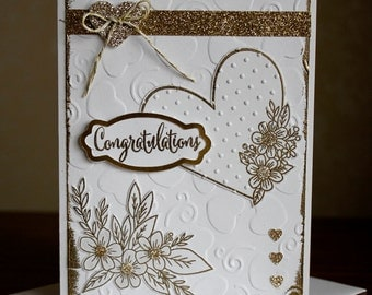 "Hand Stamped and Gold Embossed ""Congratulations"" Wedding Card & Envelope."