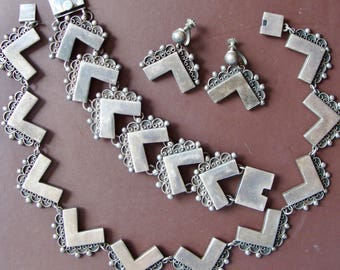 Vintage 1950s Felipe Martinez STERLING silver TAXCO Mark RARE Three Piece Chevron Set Necklace Bracelet Earrings