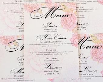Peonies Menus Wedding Decor Bridal Handmade Reception Place Setting Spring Blooms Blossoms Pink Pastel Set 10