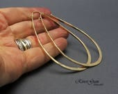 RESERVED for Kat - Gold Filled Hoop Earrings, Gold Hoop Earrings, Teardrop Shape, Hammered Hoops, Extra Extra Large Hoops