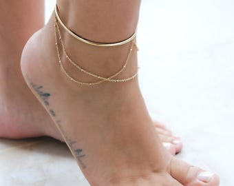 Gold Ankle Bracelet | Wire Anklet | Ankle Cuff Bracelet | Fashion Jewelry | Layered Anklet | Rose Gold Charm Anklet | Bead Chain Anklets