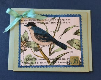 Handmade Greeting Card Featuring Bluebird Image