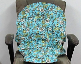 Graco Blossom or  Duo diner high chair pad,baby accessory replacement pad, chair cushion, kids feeding chair,nursery design, flowers on blue