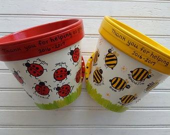 Teacher Gift - Painted Flower Pot - Gift from Students - End of Year Teacher Gift - Teacher Christmas Gift