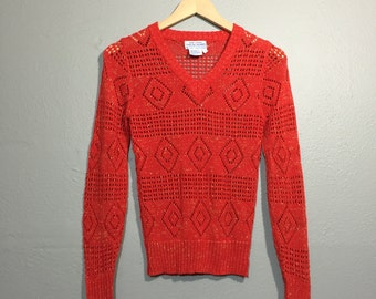 Vintage 60's Red Crochet V Neck Sweater Top Diamond Pattern Metallic Thread Tiny Fit XS
