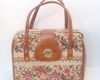 Vintage tapestry embroidery needlework handbag purse.  Vintage bag.