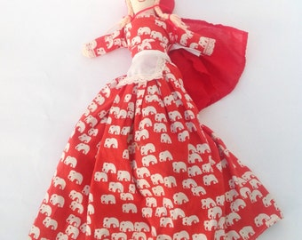 "Vintage handmade 17"" tall Little Red Riding Hood topsy turvy doll with grannie grandmother and wolf."