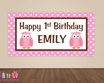 HAPPY BIRTHDAY Banner, Pink Owl Birthday Decorations, Owl Birthday Backdrop, Owl Party Banner, Girls Birthday Party, Vinyl Banner