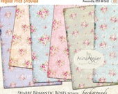 SALE 70% OFF - Romantic Shabby Roses DIGITAL Paper - Large Image Scrapbooking - Background - 5x7 inch - Digital Print - Digital Collage Shee