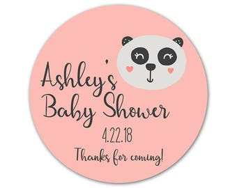 Personalized Baby Shower Stickers - Custom Labels - Shower Stickers - Favor Labels - Panda Stickers - Baby Shower Favors - Favor Stickers