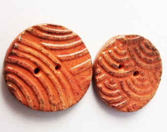 "Handmade Pottery Buttons, Stoneware Pottery Button, 1 1/4"" Orange, Arches, Patterned, Large 2 hole button"