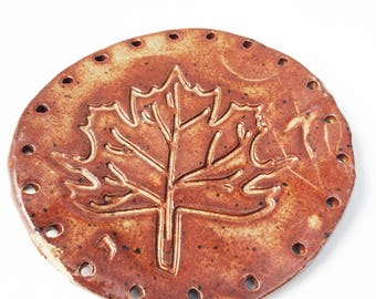 Maple Autumn Decor Leaf Start for Pine Needle Basket, Cinnamon Brown, Cream