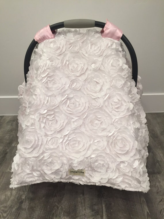 CAR SEAT COVER / car seat canopy / nursing cover / carseat cover / carseat canopy / infant car seat cover / rosette / girly /baby  blessing