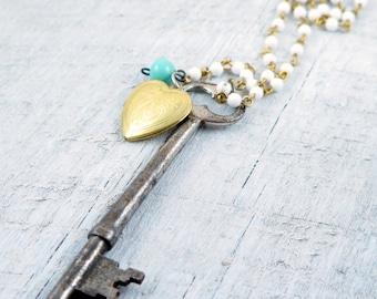 Skeleton Key Necklace, Vintage Key Necklace, Gold Heart Locket, Turquoise, White Beaded Necklace, Key Jewelry