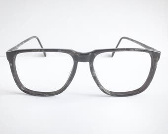 Vintage 1980's Black Granite Square Plastic Eyeglasses