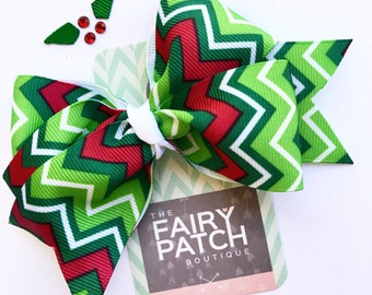 Christmas hair bow, holiday hair bow, chevron hair bow, kids hair clips, girls hair bow, toddler hair bow, hair bows, stocking stuffer