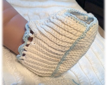 Adorable Vintage Crocheted Baby Booties, Blue Trim, Off White Foot, Open Toe