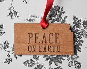 PEACE ON EARTH Engraved Kansas Ornament