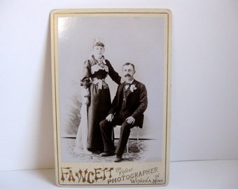 Antique Victorian cabinet card Victorian photograph man and woman Victorian couple
