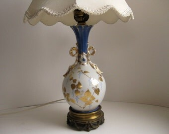 Vintage blue and white porcelain table lamp Small 1950s table lamp