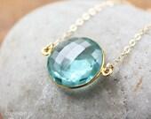 CHRISTMAS SALE Gold Light Teal Quartz Bezel Necklace - Gemstone Necklace - 14KT Gold Fill