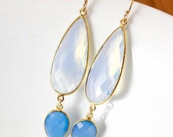 CHRISTMAS SALE Gold White Opalite & Blue Chalcedony Glamour Earrings - 14K Gf - Something Blue