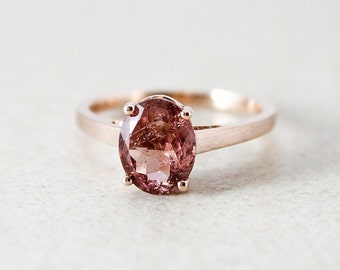 CHRISTMAS SALE Rose Gold Pink Champagne Tourmaline Ring - Oval Cut