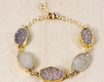 50 OFF SALE Multi-Stone Natural Agate Druzy Bracelet – Boho Jewelry