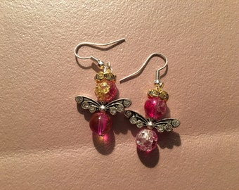 Earrings, dangle, red angel with silver wings and gold rhinestone halo on sterling silver hooks.